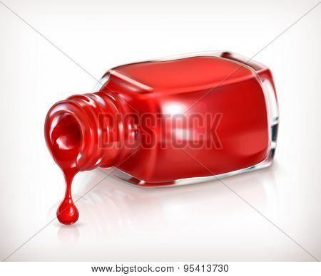 Red nail polish, vector icon