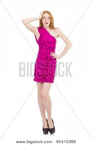 Pretty lady in pink dress isolated on white