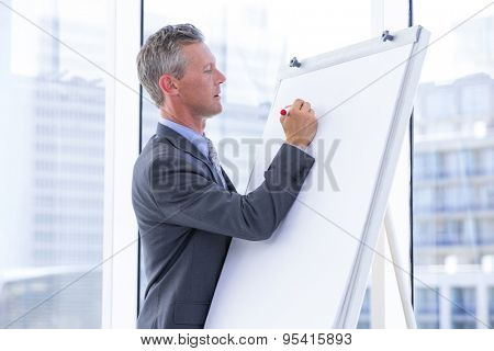 businessman write on a whiteboard in the office