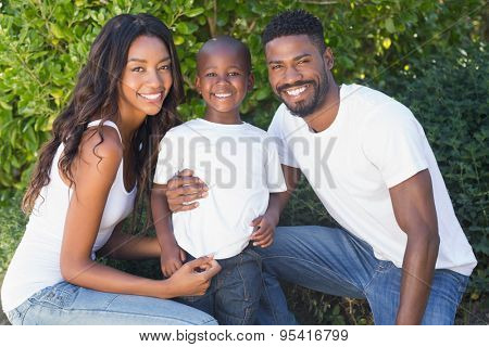 Happy family spending time together in the garden at home