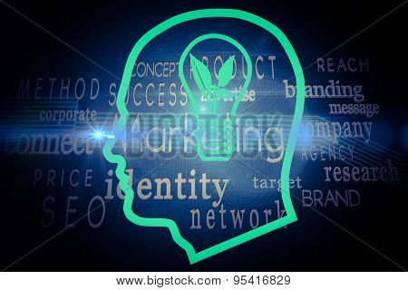 Light bulb in head against marketing buzzwords on black background