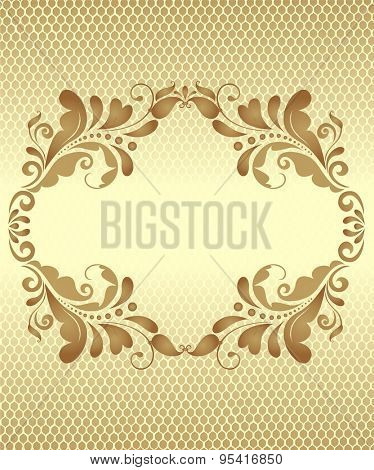 Vintage golden greeting with lacy background