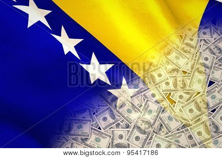 Pile of dollars against bosnia herzegovina national flag