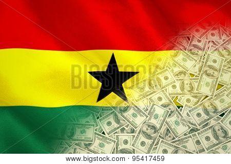 Pile of dollars against digitally generated ghana national flag