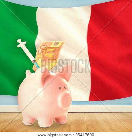 Health insurance concept against digitally generated italian national flag