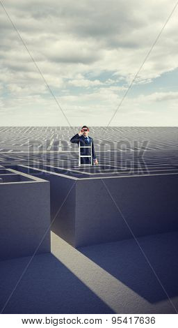 Businessman looking on a ladder against cloudy sky over maze