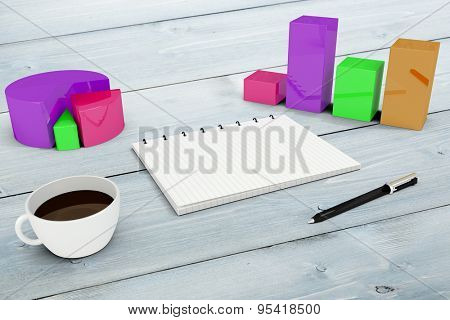 Notepad with graphs against bleached wooden planks background
