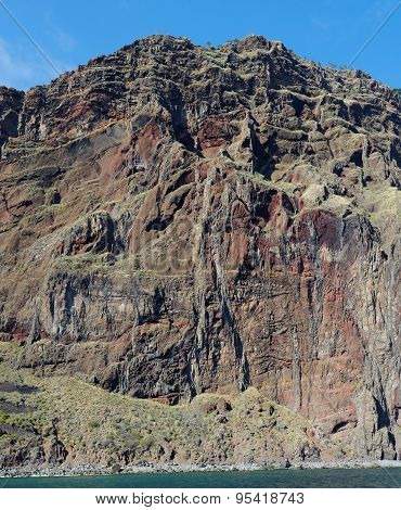 Steep weathered cliff near Cabo Girao on Madeira island