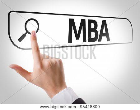 MBA written in search bar on virtual screen