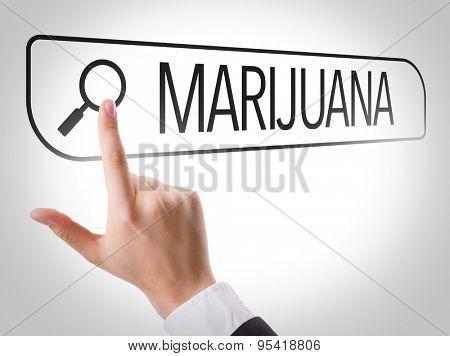 Marijuana written in search bar on virtual screen