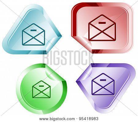 mail minus. Vector sticker.