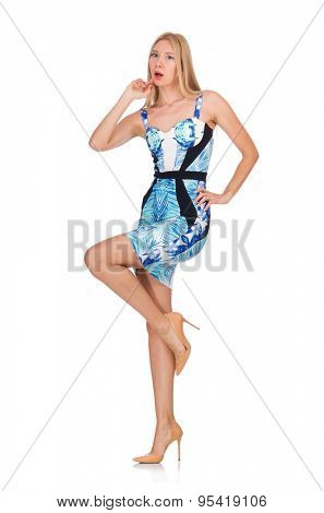Blond hair girl in mini blue dress isolated on white