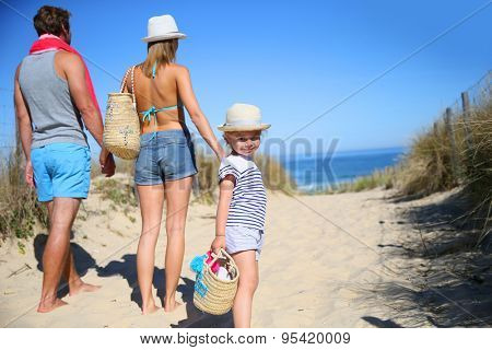 Back view of family walking to the beach on a sunny day