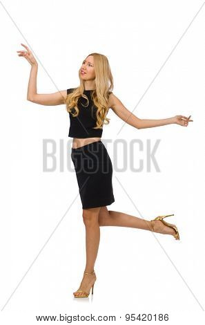 Pretty girl in black mini dress isolated on white