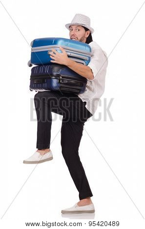Tourist with suitcases isolated on white
