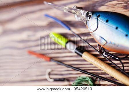 Fishing gear closeup with blur effect