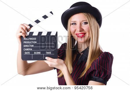 Young girl with clapperboard isolated on white