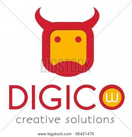 Logo template, a stylized cow head, bull head, flat style logotype