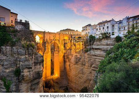 Ronda, Spain at the Puente Nuevo Bridge over the Tajo Gorge.