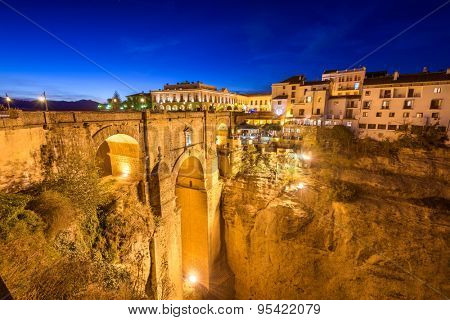 Ronda, Spain at the Puente Nuevo Bridge over the Tajo Gorge.