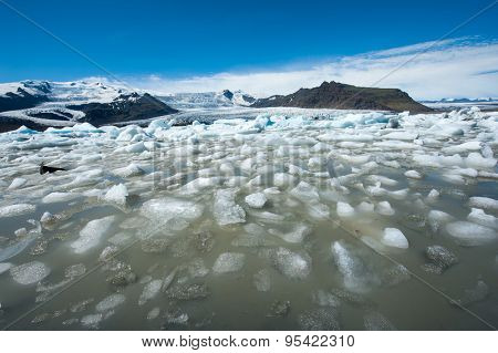Beautiful photo of Fjallsarlon Glacial lake full of floating icebergs near the Fjallsjokull glacier