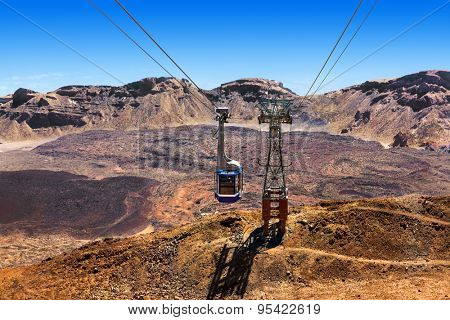 Cableway on the volcano Teide in Tenerife island - Canary Spain
