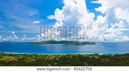 Panorama of island Praslin at Seychelles - nature background