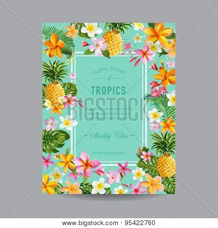 Tropical Floral Frame - for Invitation, Wedding, Baby Shower Card - in vector