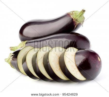 Eggplant or aubergine vegetable isolated on white background cutout