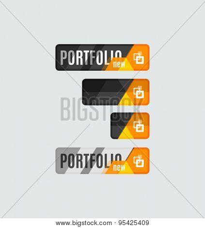 Portfolio button, futuristic hi-tech UI design. Website, mobile applications icon, online design, business, gui or ui