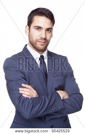 Portrait of a serious business man, isolated on white background