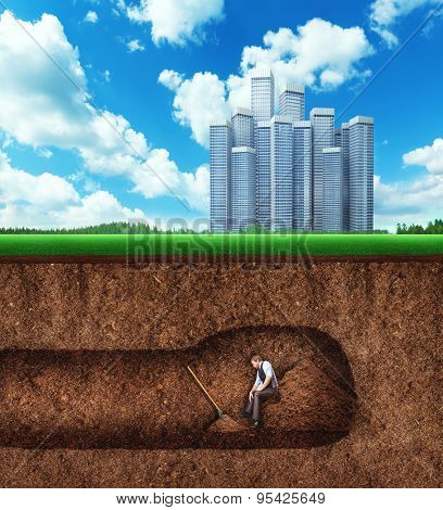Businessman has a rest while digging tunnel