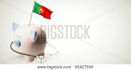 Digitally generated portugal national flag against white background with vignette