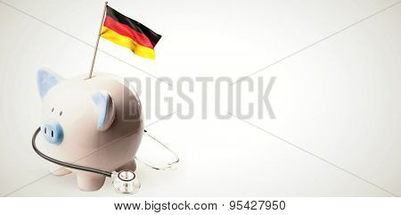 Digitally generated german national flag against white background with vignette