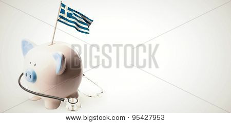 Digitally generated greek national flag against white background with vignette