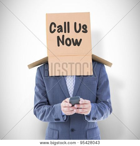 Anonymous businessman using phone against white background with vignette