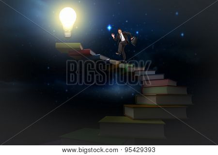 Happy businessman in a hurry against stars twinkling in night sky