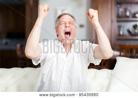 Happy mature man with raised arms watching tv on the sofa