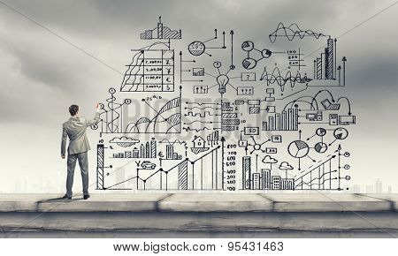 Back view of businessman drawing business sketches on wall