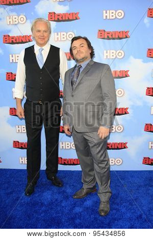 LOS ANGELES - JUN 8: Tim Robbins, Jack Black at the Premiere of HBO's 'The Brink' at the Paramount Theater at Paramount Studios on June 8, 2015 in Los Angeles, CA