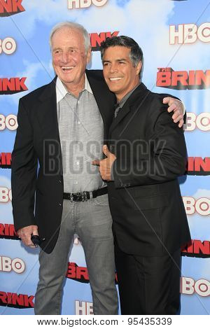 LOS ANGELES - JUN 8: Jerry Weintraub, Esai Morales at the Premiere of HBO's 'The Brink' at the Paramount Theater at Paramount Studios on June 8, 2015 in Los Angeles, CA