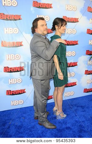 LOS ANGELES - JUN 8: Tanya Haden, Jack Black at the Premiere of HBO's 'The Brink' at the Paramount Theater at Paramount Studios on June 8, 2015 in Los Angeles, CA