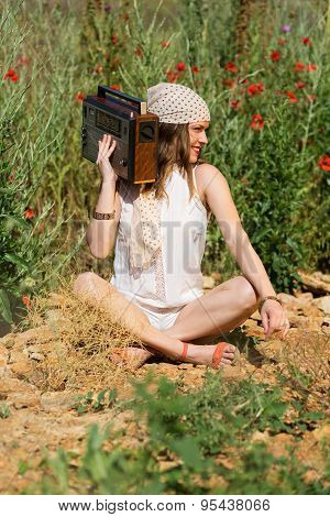 Beautiful Girl With a Stereo