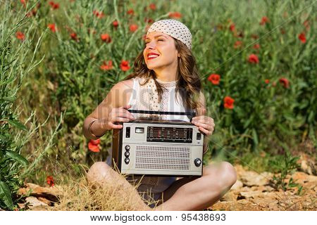Beautiful Girl with Stereo