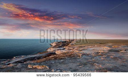 Beautiful summer evening by the sea. Crimea, Tarhankut