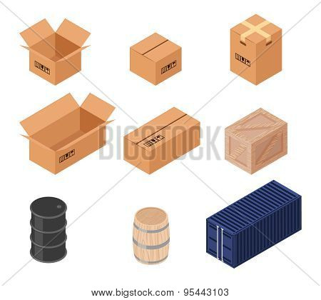 Set of isometric vector boxes