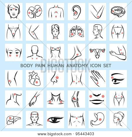 Body pain human anatomy icons