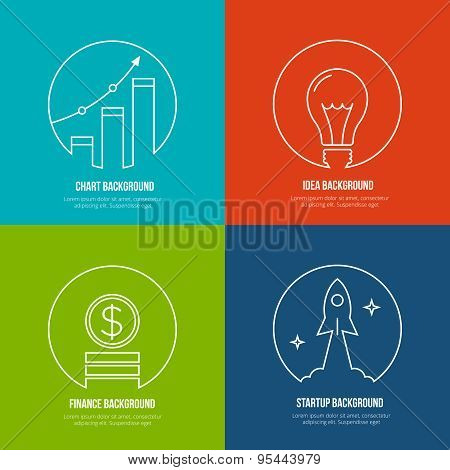 Business line art backgrounds. Finance and analytics, startup creative idea