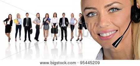 Young business team and assistant on white