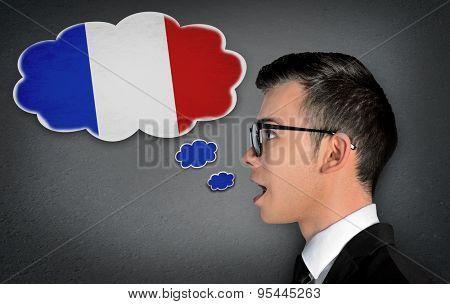 Man learn speaking french in bubble
